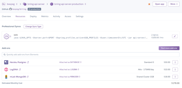 Heroku Resources And Add Ons For Api Server