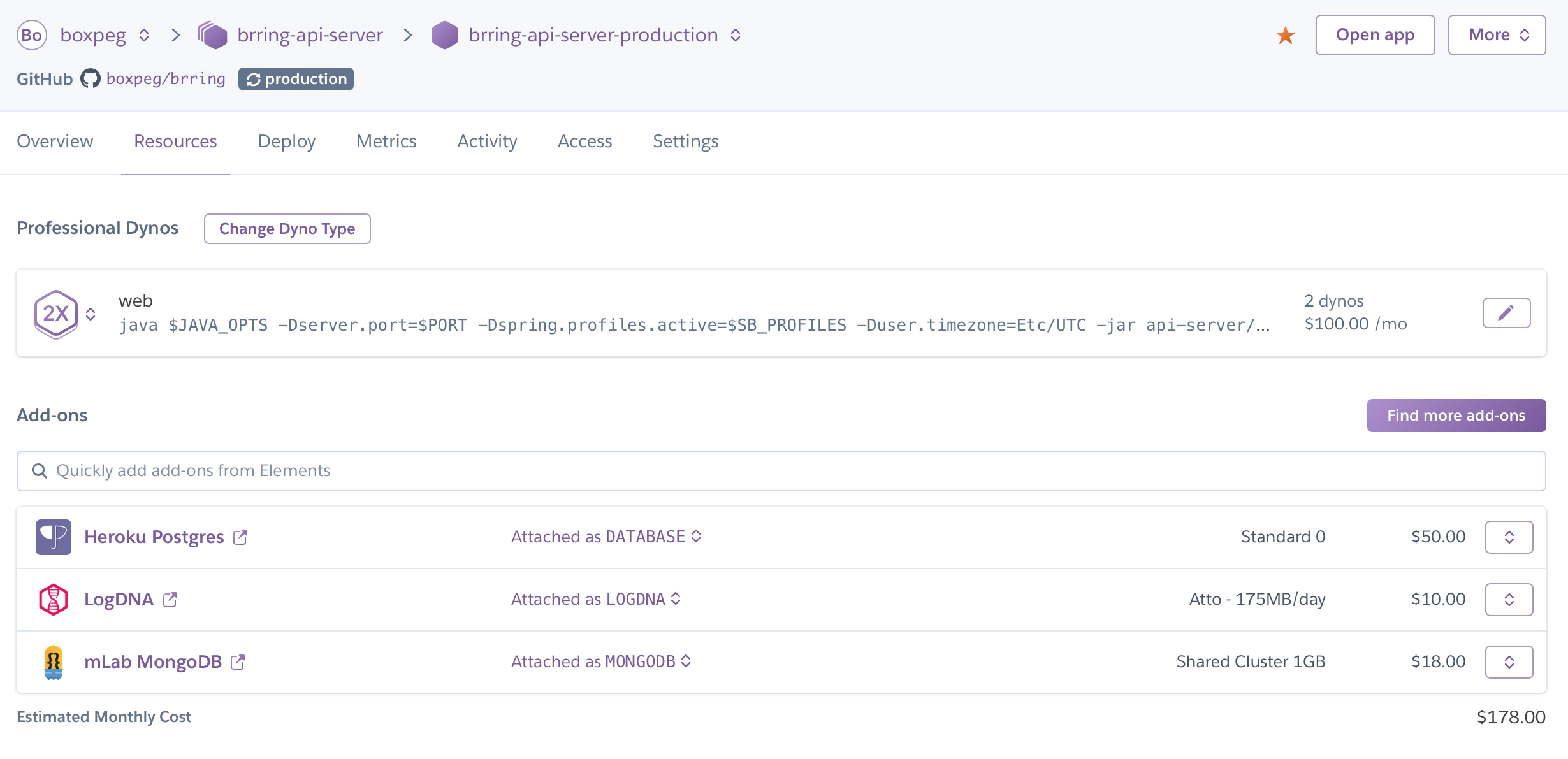 Heroku Resources And Add Ons For Api Server