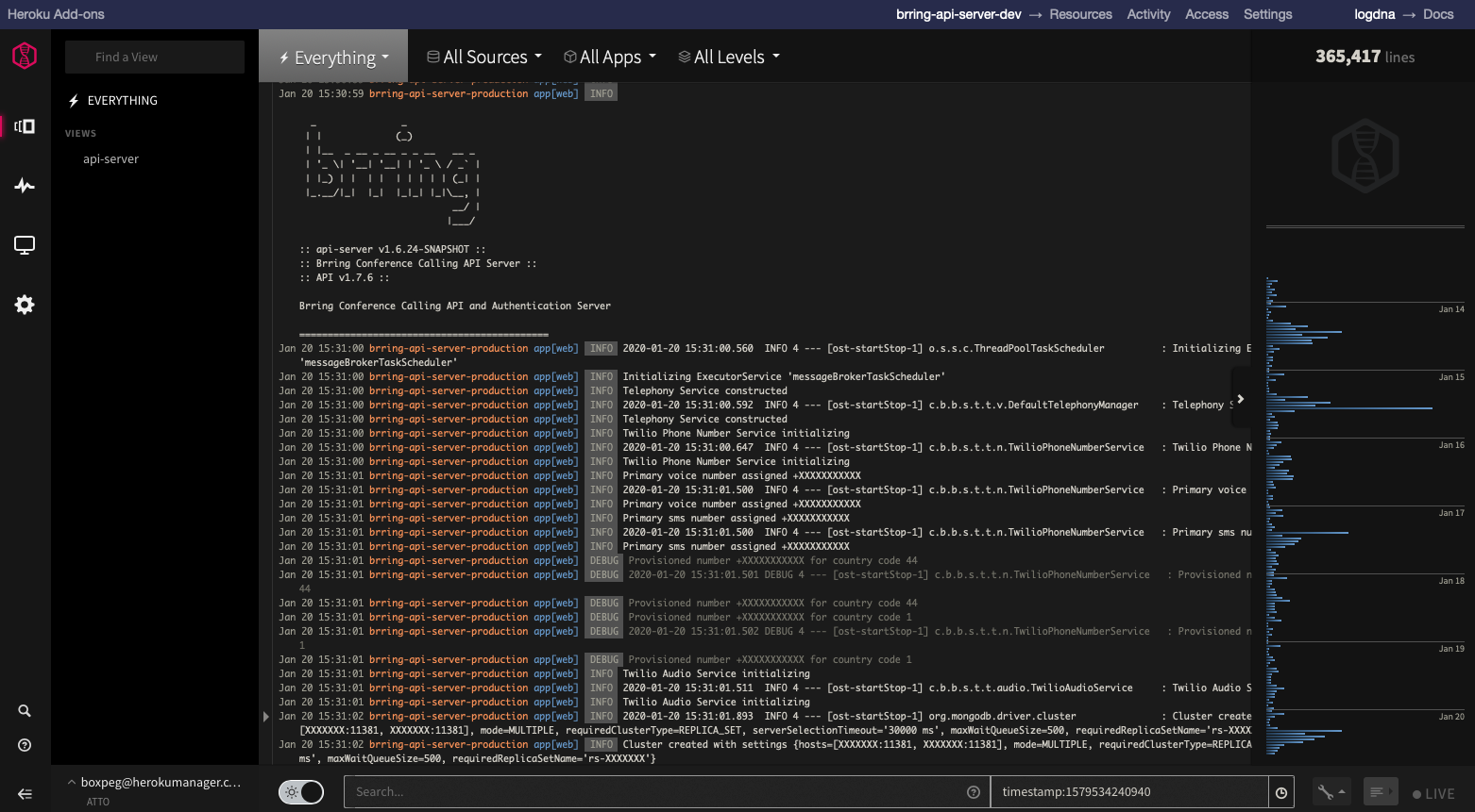 LogDNA Dashboard Accessed From Heroku Dashboard